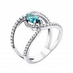 Серебряное кольцо с кварцем swiss blue и фианитами 000132961