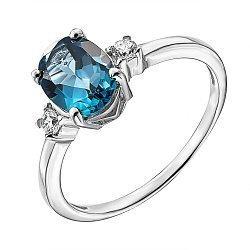 Серебряное кольцо с лондон топазом и фианитами 000137405