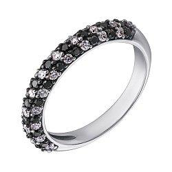 Золотое кольцо Бриллиантовая россыпь в белом цвете с черными и белыми бриллиантами