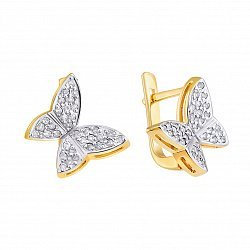 Золотые серьги с бриллиантами в желтом цвете 000022027