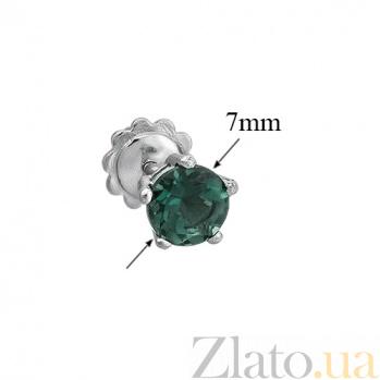 Серебряные пуссеты с зеленым кварцем Очарование 2095/9р зел кварц6