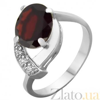 Серебряное кольцо с гранатом и фианитами Дарина 000032479