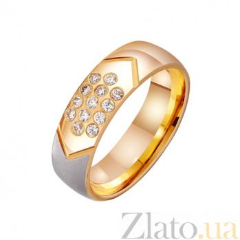 Золотое обручальное кольцо Влюбленная душа в комбинированном цвете с фианитами TRF--412456