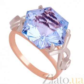 Золотое кольцо с топазом и фианитами Октагон VLN--112-1396-1