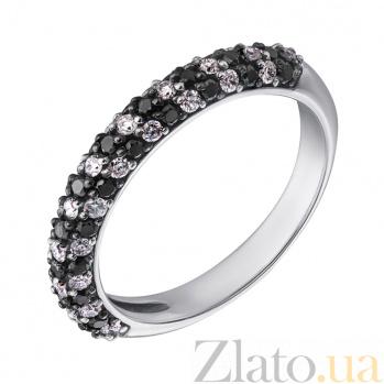 Золотое кольцо Бриллиантовая россыпь в белом цвете с черными и белыми бриллиантами EDM--КД7422/1ЧЕРН