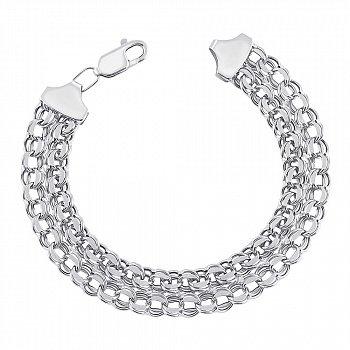 Срібний браслет у плетінні бісмарк 000126056