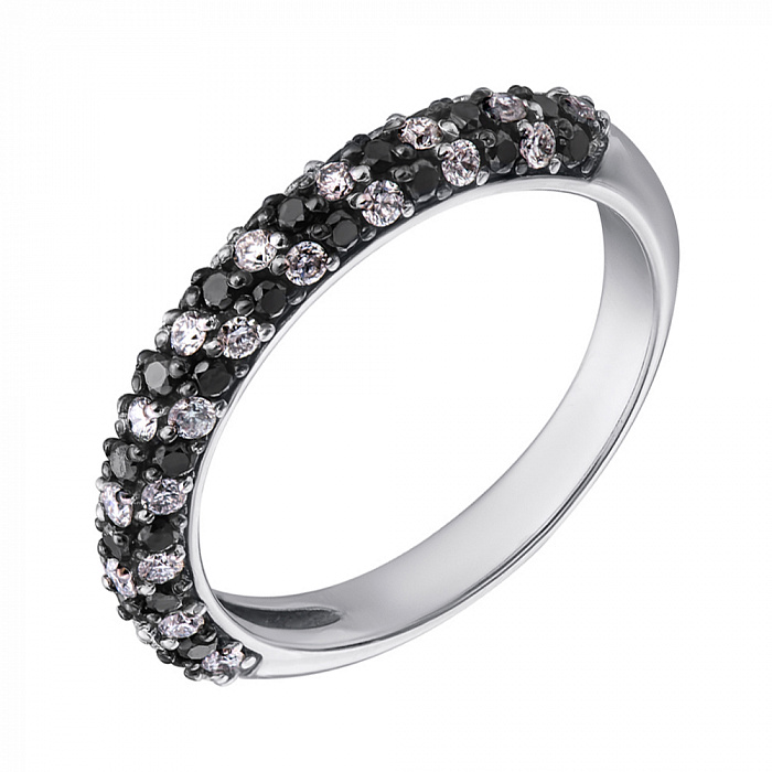 Кольцо из белого золота с черными и белыми бриллиантами 000001840 EDM--КД7422/1ЧЕРН