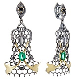 Золотые серьги-подвески с изумрудами и чёрными бриллиантами Lace