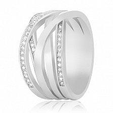 Серебряное кольцо Рошель с фианитами