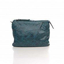 Кожаный клатч Genuine Leather 6564 приглушенно-синего цвета с плечевым ремнем и двумя отделами