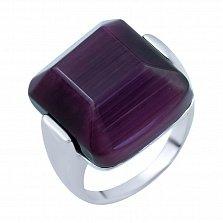 Серебряное кольцо Андромеда с фиолетовым кошачьим глазом