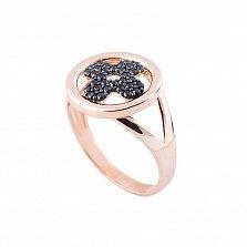 Золотое кольцо Флер с черными фианитами
