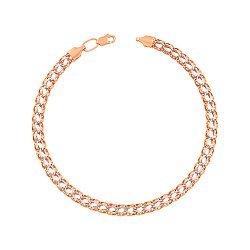 Браслет из красного и белого золота в плетении королевский бисмарк с алмазной гранью 000103647
