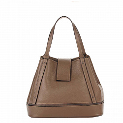 Кожаная сумка на каждый день Genuine Leather 8809 цвета кофе с молоком, с хлястиком на кнопке