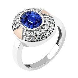 Серебряное кольцо с золотой вставкой, алпанитом и фианитами 000095705
