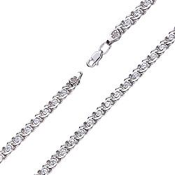 Серебряный браслет Фигаро в плетении бисмарк с фианитами, 4,5мм
