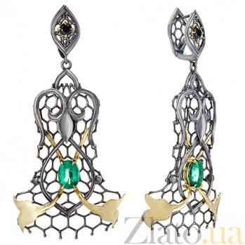 Золотые серьги-подвески с изумрудами и чёрными бриллиантами Lace 000029274