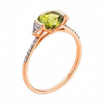Кольцо в красном и белом золоте с хризолитом и фианитами 000104192
