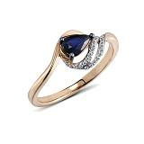 Кольцо из красного золота Глория с бриллиантами и сапфиром