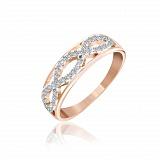 Серебряное кольцо Лусия с фианитами и позолотой