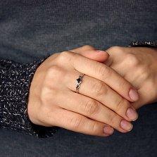Золотое кольцо Элеонора в белом цвете с бриллиантами и сапфиром