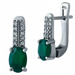 Серебряные серьги Джудит с зеленым агатом и фианитами