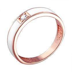 Золотое кольцо в красном цвете с фианитом и белой эмалью 000103491