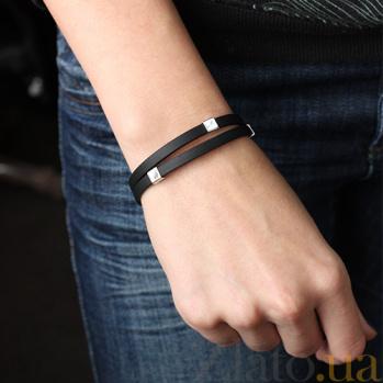 Каучуковый браслет с серебряными вставками Майрон 000032277
