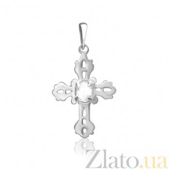 Серебряный крестик с фианитами Рокайль 000025274