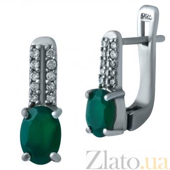 Серебряные серьги Джудит с зеленым агатом и фианитами 000078040