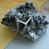 Серебряное колье Водопады с подвесками-цепочками