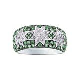 Золотое кольцо с зеленым гранатом и бриллиантами Нинет