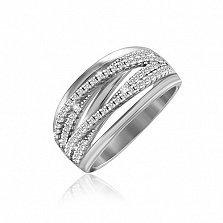 Серебряное кольцо Каскад с кристаллами циркония