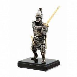 Бронзовая скульптура Русский воин на обсидиановой подставке 000051970
