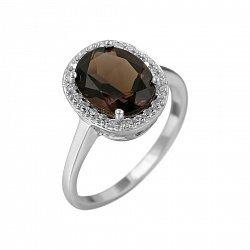 Серебряное кольцо Таира с раухтопазом и фианитами