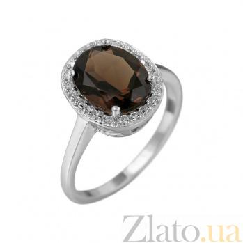 Серебряное кольцо Таира с раухтопазом и фианитами 000081594
