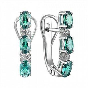 Серебряные серьги с зеленым кварцем и фианитами 000150749