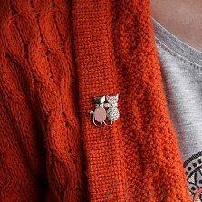Серебряная брошка Кошачья парочка с розовым кварцем, фианитами и золотой накладкой