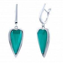 Серебряные серьги-подвески Зимнее сердце с голубым кошачьим глазом