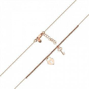 Браслет из красного золота с подвесками Ключ и замок 000141610