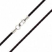 Шелковый шнурок Матиас с серебряной застежкой, диам. 1мм