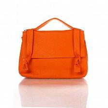 Кожаная деловая сумка Genuine Leather 6201 оранжевого цвета на молнии с клапаном на магнитной кнопке