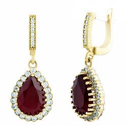Серебряные серьги Тельма с рубином и фианитами 000057909