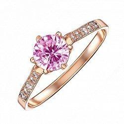 Кольцо в красном золоте Оливия с розовым и белыми кристаллами Swarovski