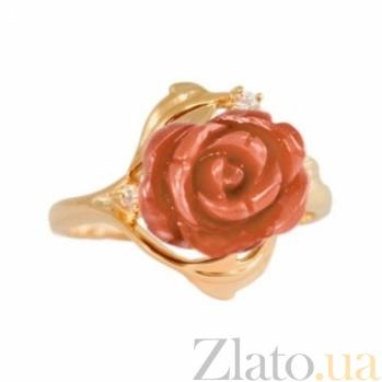 Золотое кольцо с кораллом и фианитами Роуз 000030579