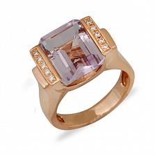 Кольцо из красного золота Наола с аметистом и бриллиантами
