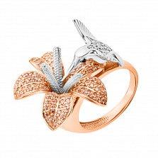 Золотое кольцо Птица с лилией в красном цвете с фианитами