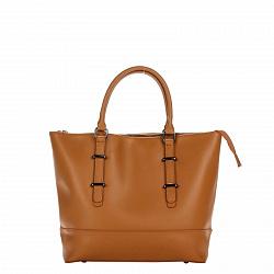 Кожаная сумка на каждый день Genuine Leather 8615 коньячного цвета на молнии, со съемным ремнем