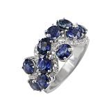Золотое кольцо с сапфирами и бриллиантами На волнах