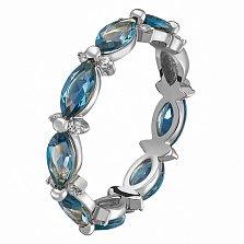 Кольцо в белом золоте Донна с голубым топазом и фианитами